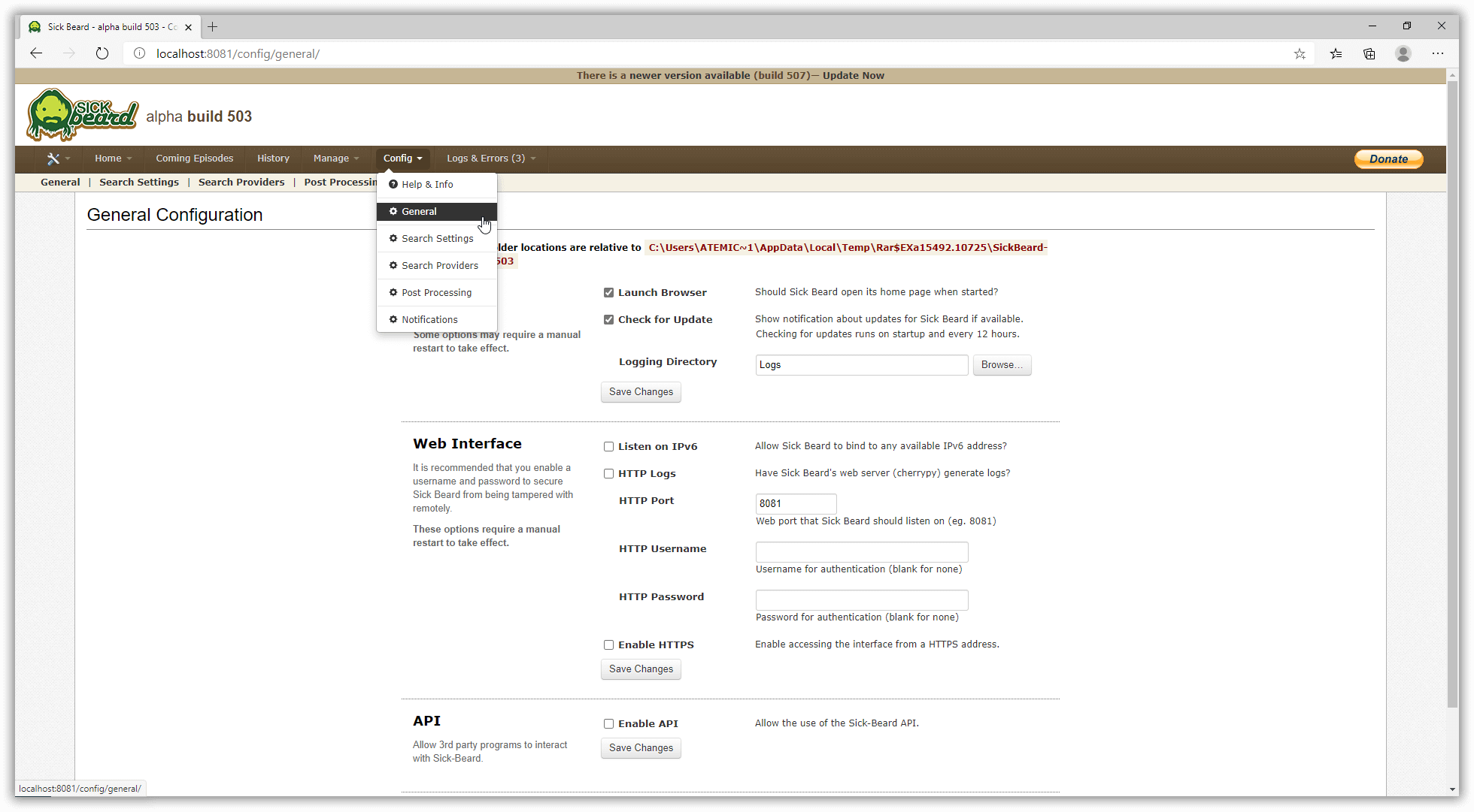 Sickbeard Newsreader Configure General Settings